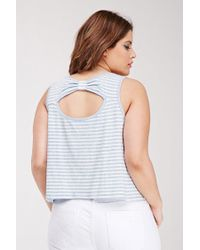 Forever 21 | Blue Striped Bow-back Tank | Lyst