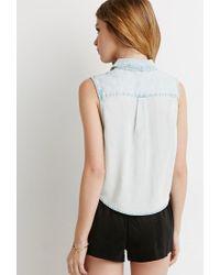 Forever 21 - Blue Denim Pocket Shirt - Lyst