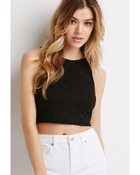 Forever 21 - Black Lace Crop Top - Lyst