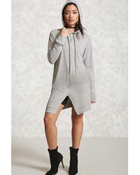Forever 21 | Gray Heathered Longline Hoodie | Lyst