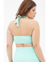 Forever 21 | Green Plus Size Bandeau Halter Bikini Top | Lyst