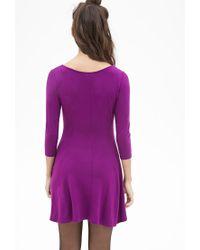 Forever 21 | Purple Knit Skater Dress | Lyst