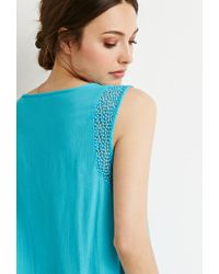 Forever 21 - Blue Woven Peasant Top - Lyst