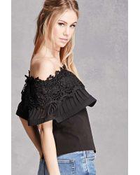 Forever 21 - Black Crochet Off-the-shoulder Top - Lyst