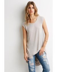 Forever 21 - Natural Contemporary High-low Longline Tee - Lyst