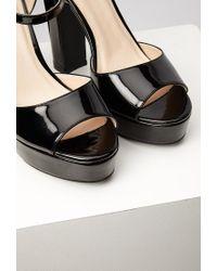 Forever 21 - Black Faux Patent Platform Sandals - Lyst