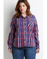 Forever 21 - Blue Plus Size Tartan Plaid Shirt - Lyst
