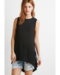 Forever 21 - Black Contemporary Side-slit Textured Tunic - Lyst
