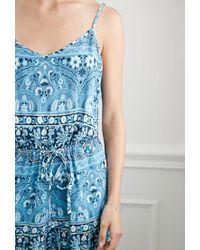Forever 21 - Blue Striped Floral Drawstring Jumpsuit - Lyst