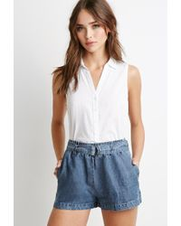 Forever 21 - Blue Belted Chambray Shorts - Lyst