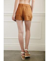 Forever 21 | Brown Belted Linen-blend Shorts | Lyst