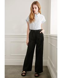 Forever 21 - Black Wide-leg Linen Pants - Lyst