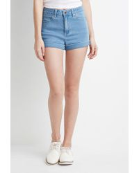 Forever 21 - Blue Mid-rise Denim Shorts - Lyst