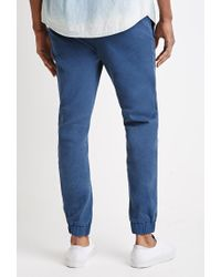 Forever 21 | Blue Garment-dyed Chino Joggers for Men | Lyst