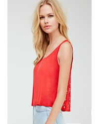 Forever 21 - Embroidered Mesh-back Tank - Lyst