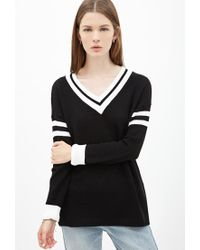 Forever 21 | Black Varsity-striped Sweater | Lyst
