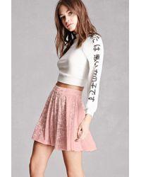 Forever 21 | Pink Crushed Velvet Skater Skirt | Lyst