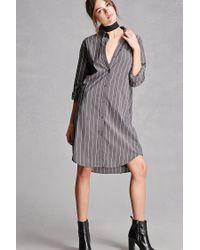 Forever 21 | Gray Pinstripe Shirt Dress | Lyst