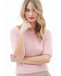 Forever 21 | Pink Contemporary Fuzzy Knit Top | Lyst