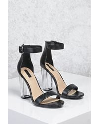 b60656258c0 Forever 21 Lucite Ankle-strap Heels in Black - Lyst