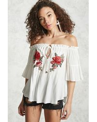 Forever 21 | White Off-the-shoulder Floral Top | Lyst