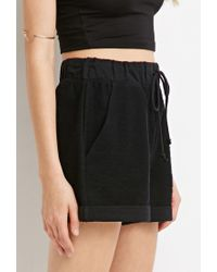 Forever 21 - Black Reversed French Terry Shorts - Lyst