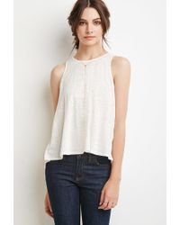 Forever 21 - Natural Linen Slit-back Tank You've Been Added To The Waitlist - Lyst