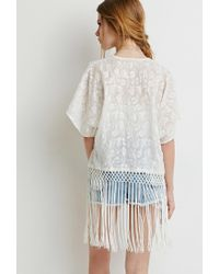Forever 21 - Natural Fringed Floral-embroidered Kimono - Lyst