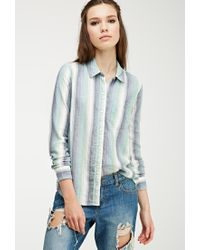 Forever 21 - Blue Multi-striped Flannel Shirt - Lyst
