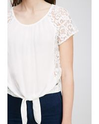 Forever 21 - Natural Lace Paneled Top - Lyst