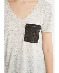 Forever 21 | Natural Contemporary Marled Pocket V-neck Tee | Lyst