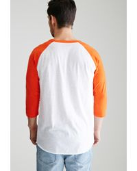 Forever 21 - Orange Colorblocked Raglan Baseball Tee for Men - Lyst