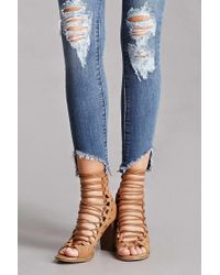 Forever 21 | Blue Faux Suede Lace-up Ankle Boots | Lyst