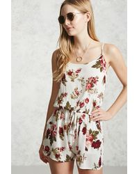 Forever 21 | White Floral Cami Romper | Lyst