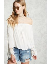 Forever 21 | White Crochet Off-the-shoulder Top | Lyst