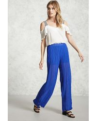 Forever 21 | Blue Sheer Palazzo Pants | Lyst