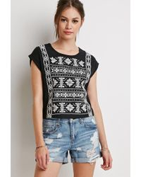 Forever 21 | Black Cuffed-sleeve Embroidery Top | Lyst