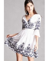 Forever 21 | White Floral Embroidered Dress | Lyst