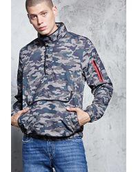 22449ce4e8997 Lyst - Forever 21 's Camo Print Windbreaker Jacket in Green for Men