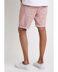 Forever 21 | Pink Clean Wash Cuffed Denim Shorts for Men | Lyst