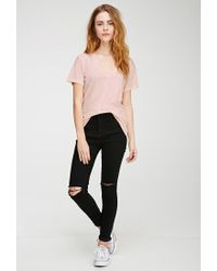 Forever 21 - Pink Heathered V-neck Tee - Lyst