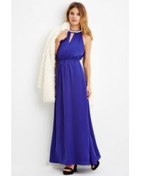 Forever 21 | Blue Contemporary Rhinestone-embellished Maxi Dress | Lyst