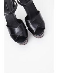 Forever 21 | Black Faux Leather Platform Sandals | Lyst