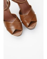 Forever 21 - Brown Faux Leather Platform Sandals - Lyst