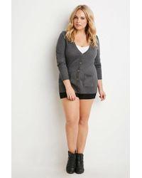 Forever 21 | Gray Plus Size Longline V-neck Cardigan | Lyst