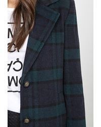 Forever 21 - Black Wool-blend Plaid Overcoat - Lyst
