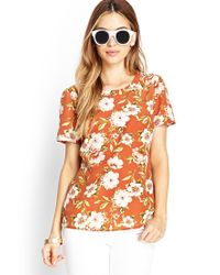 Forever 21 | Orange Botanical Floral Woven Top | Lyst