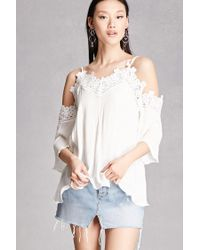 Forever 21 | White Crochet Open-shoulder Top | Lyst