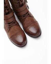 Forever 21 - Brown Buckled Lace-up Boots - Lyst