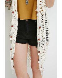 Forever 21 - Natural Beaded Tassel Crochet Cardigan - Lyst